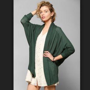 UO Ecote S cardigan green drape lapel open front